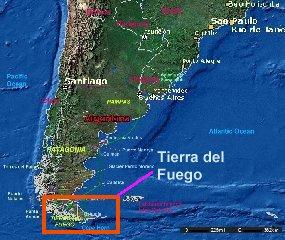 TIERRA DEL FUEGO EDGE OF THE WORLD - Argentina map tierra del fuego